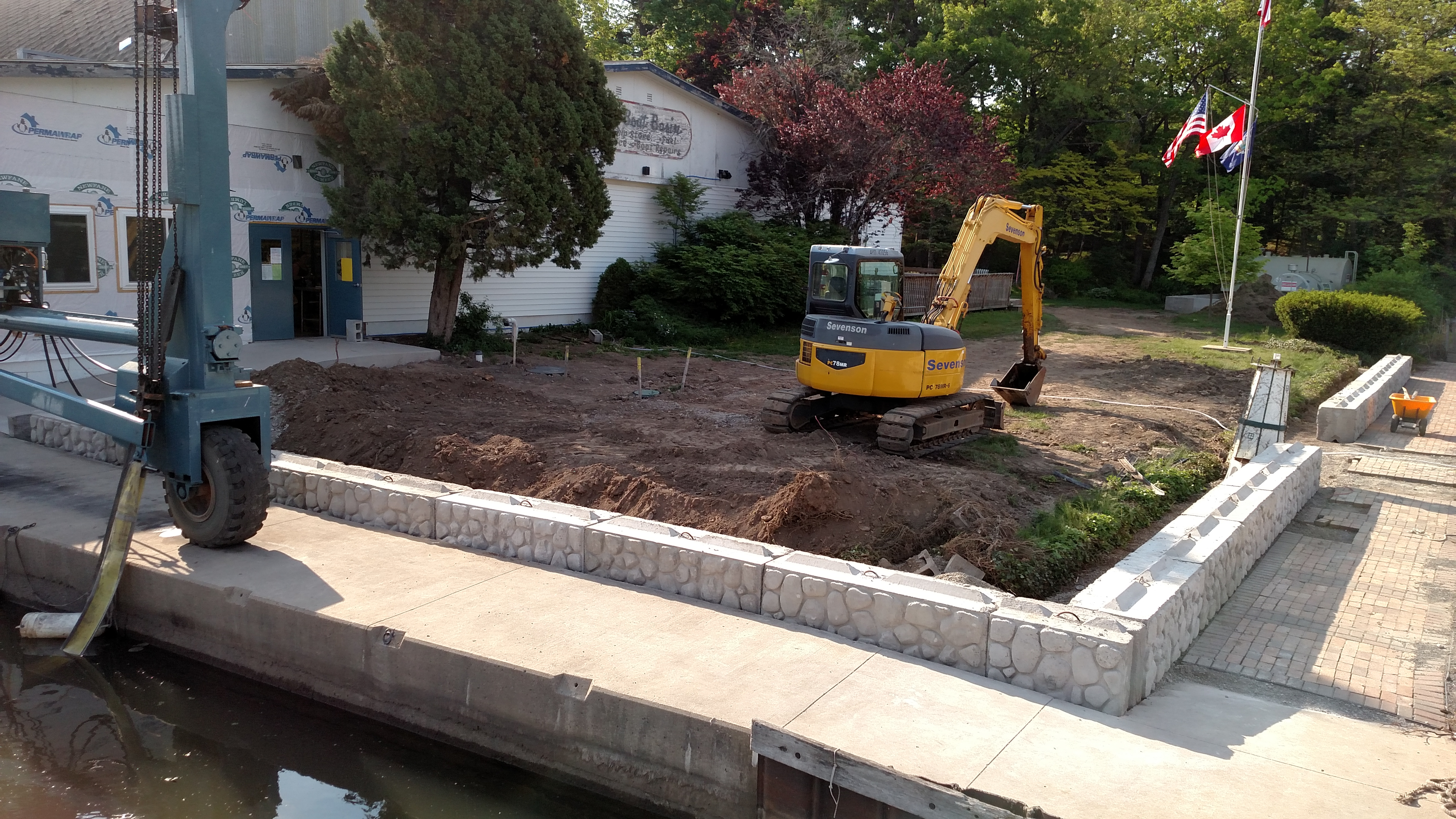 Installing Retaining Wall - Bootleggers Cove Renovation Project